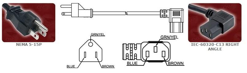 NEMA 5 15P Power Cord